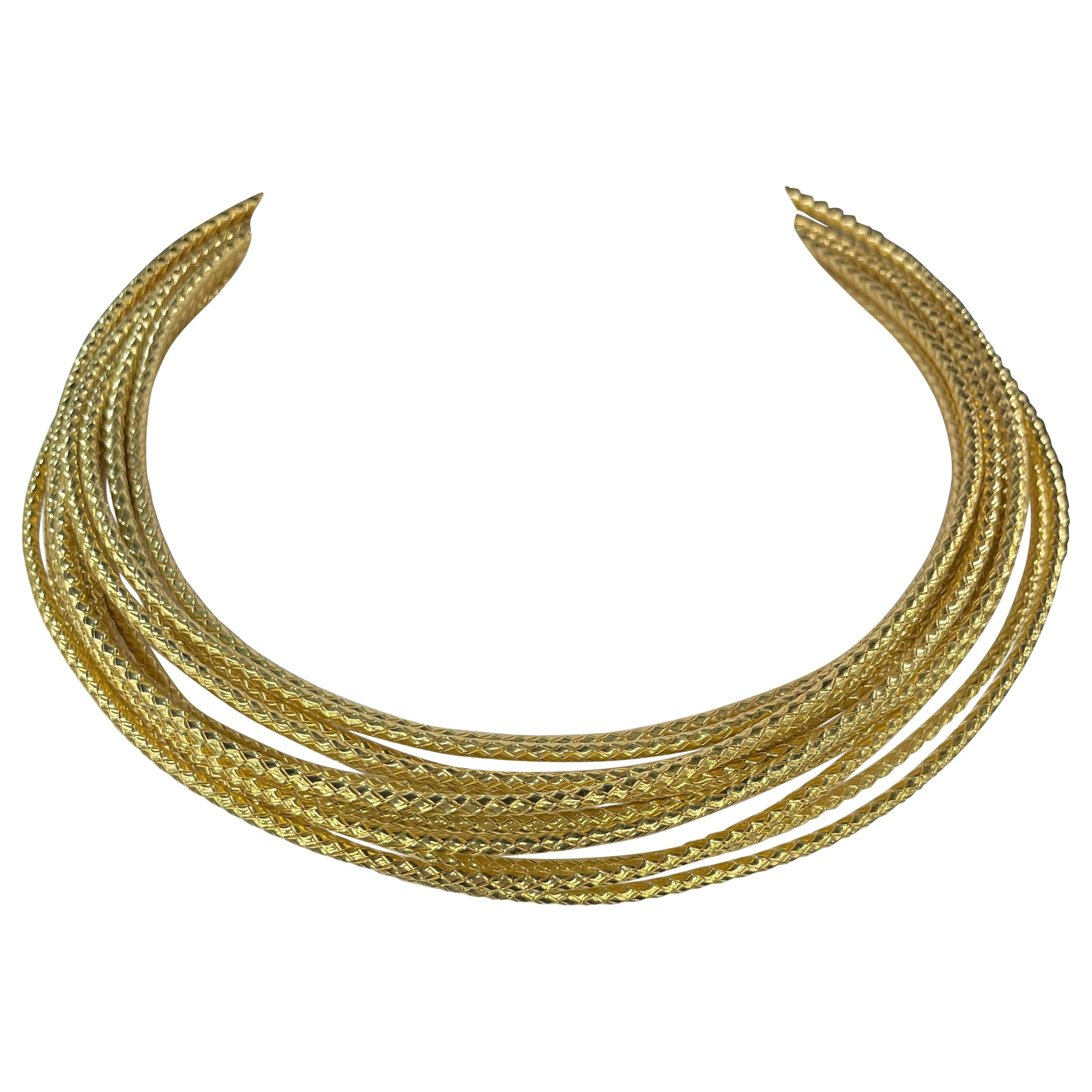 18 Karat Yellow Gold Multi Textured Rope Necklace 161.3 Grams Made in Roma