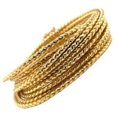 18 Karat Yellow Gold Multi Wire Textured Bangle Bracelet 77.2 Grams Made in Roma