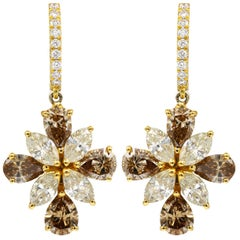 18 Karat Yellow Gold Multicolored Diamond Earrings