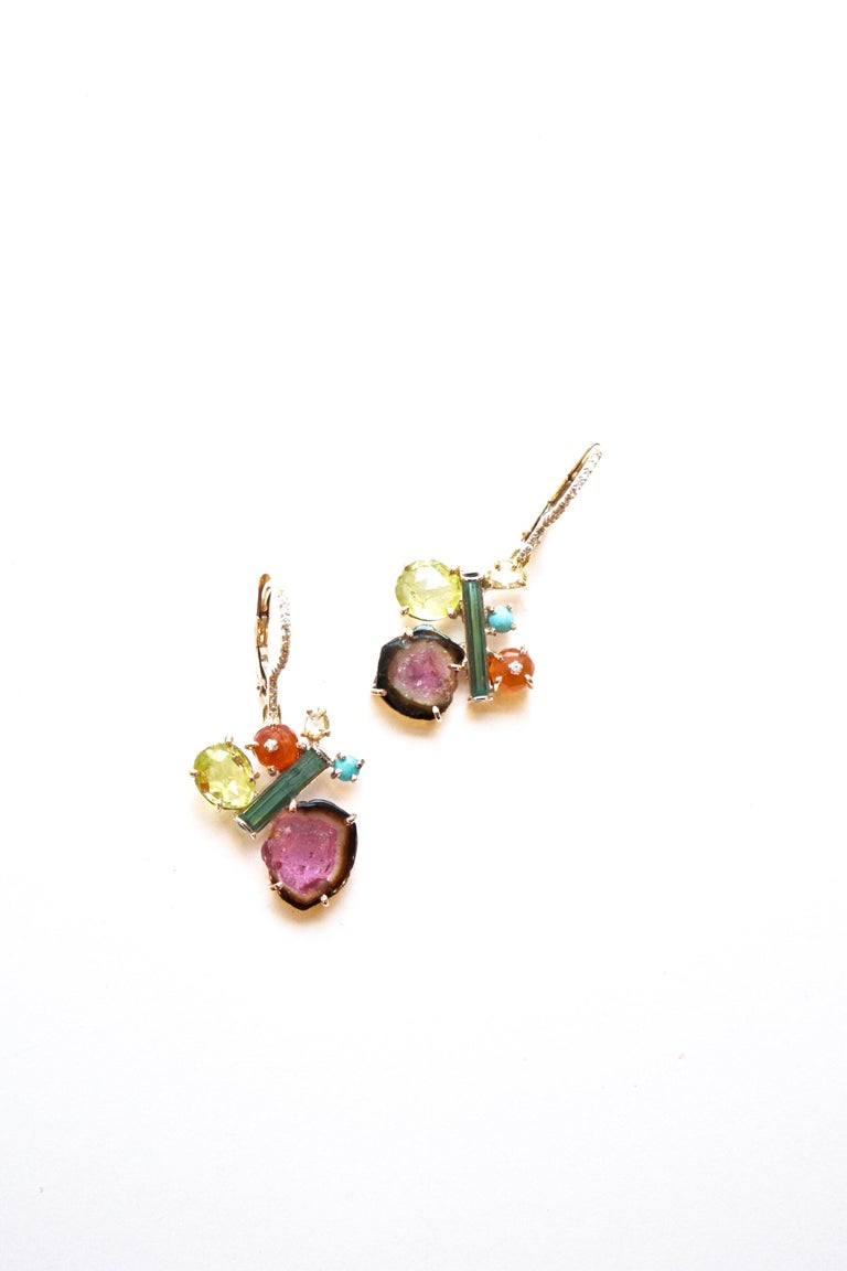 Sharon Khazzam 18K Yellow Gold Multicolored Gemstone and Diamond Penny Eardrops In New Condition For Sale In Great Neck, NY