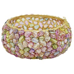 18 Karat Yellow Gold Multicolored Sapphires and Diamond Bracelet Cuff