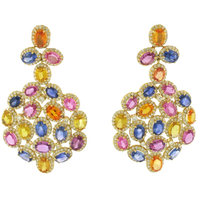 18 Karat Yellow Gold Multicolored Sapphires and Diamond Chandelier Earrings For Sale