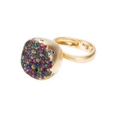 18 Karat Yellow Gold, Multicolored Sapphires Baby Malak Flourish Bonbon Big Ring