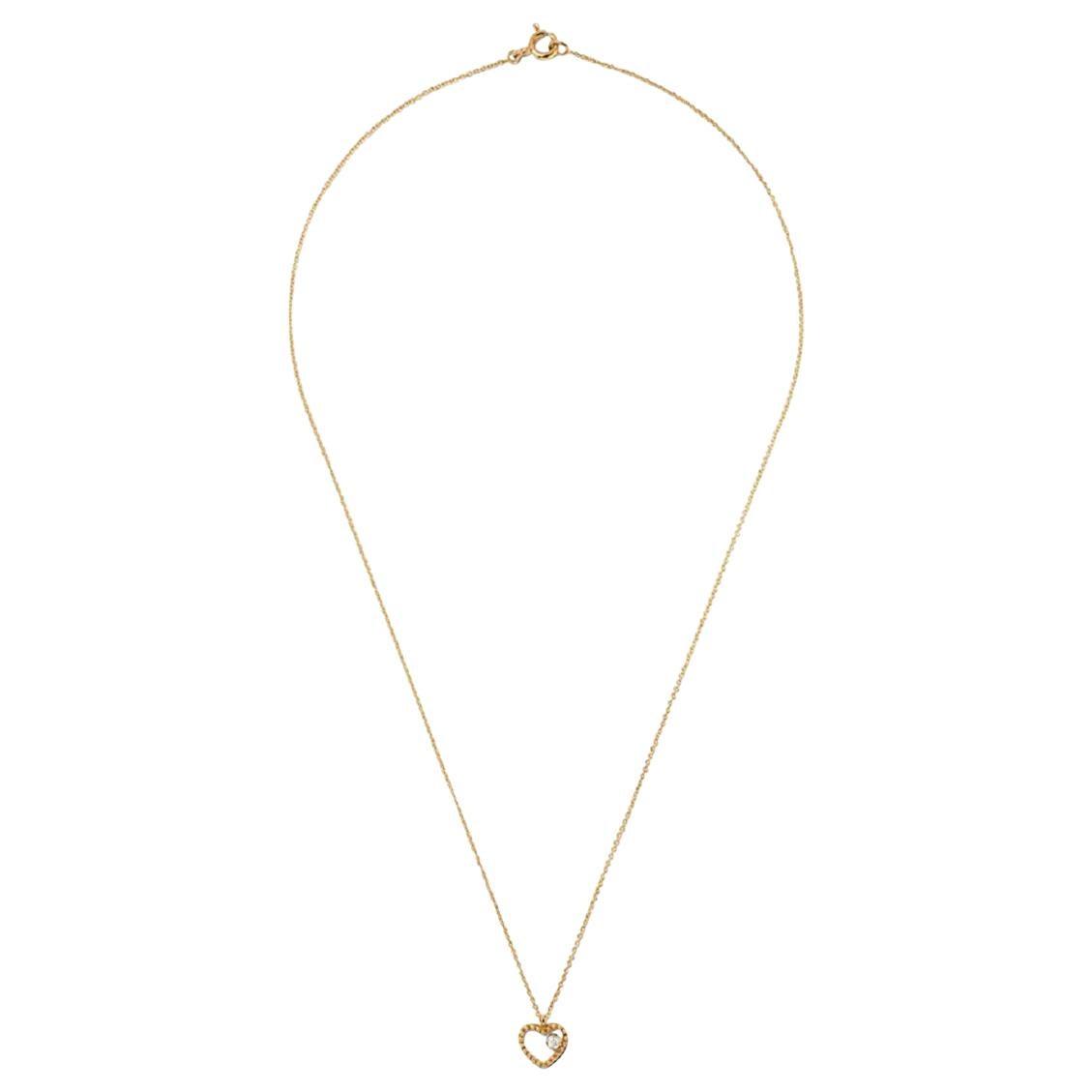18 Karat Yellow Gold Mye Heart Beading Diamond Necklace