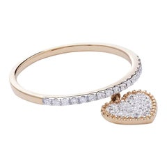 18 Karat Yellow Gold Mye Heart Beading Pave Diamond Ring