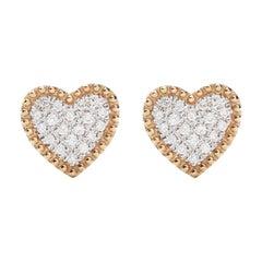 18 Karat Yellow Gold Mye Heart Beading Pave Diamond Studs Earrings