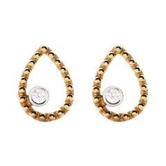 18 Karat Yellow Gold Mye Pear Beading Diamond Earrings