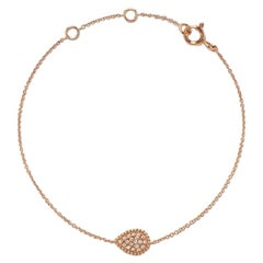 18 Karat Yellow Gold Mye Pear Beading Pave Diamond Bracelet