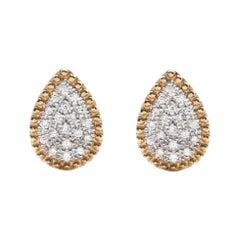 18 Karat Yellow Gold Mye Pear Beading Pave Diamond Stud Earrings