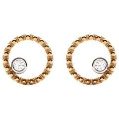 18 Karat Yellow Gold Mye Round Beading Pave Diamond Studs Earrings
