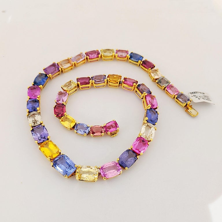 Women's or Men's 18 Karat Yellow Gold, Natural 144.55 Carat Multicolored Sapphire Necklace For Sale