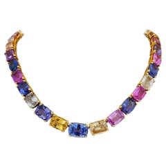 18 Karat Yellow Gold, Natural 144.55 Carat Multicolored Sapphire Necklace