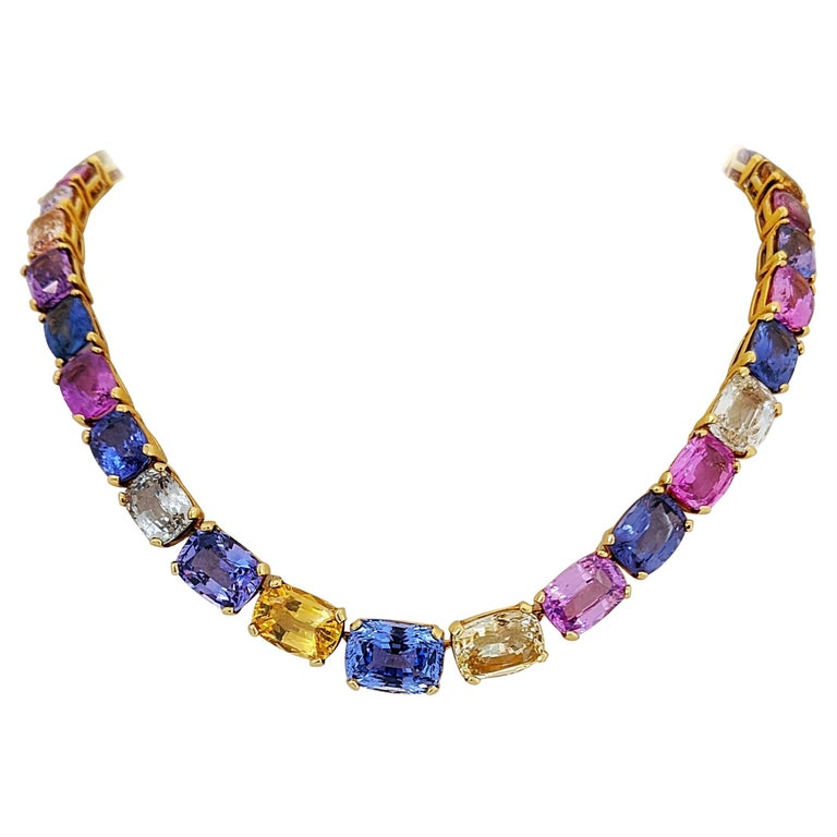18 Karat Yellow Gold, Natural 144.55 Carat Multicolored Sapphire Necklace For Sale