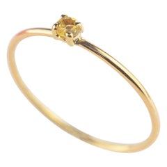 18 Karat Yellow Gold Natural Citrine Quartz Round Cocktail Band Chic Ring