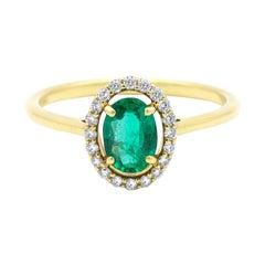 18 Karat Yellow Gold Natural Green Emerald and Diamond Halo Cluster Ring