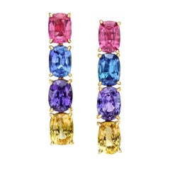 18 Karat Yellow Gold, Natural Multicolored 27.43 Carat Sapphire Earrings