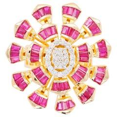 18 Karat Yellow Gold Natural Ruby Baguette Diamond Flower Cocktail Ring