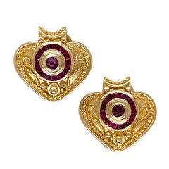 18 Karat Yellow Gold Natural Ruby Heart Shape Etruscan Style Vintage Earrings