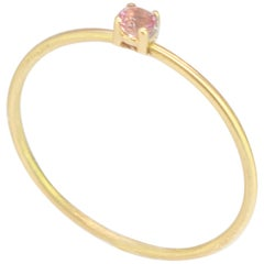 18 Karat Yellow Gold Natural Sapphire Brilliant Cut Solitaire Cocktail Ring