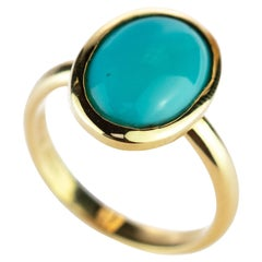 18 Karat Yellow Gold Natural Turquoise Oval Cabochon Solitaire Cocktail Ring