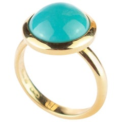 18 Karat Yellow Gold Natural Turquoise Round Cabochon Cocktail Solitaire Ring