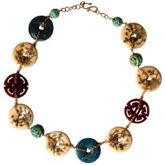 18 Karat Yellow Gold Necklace Cornelia Turquoise Amazzonite