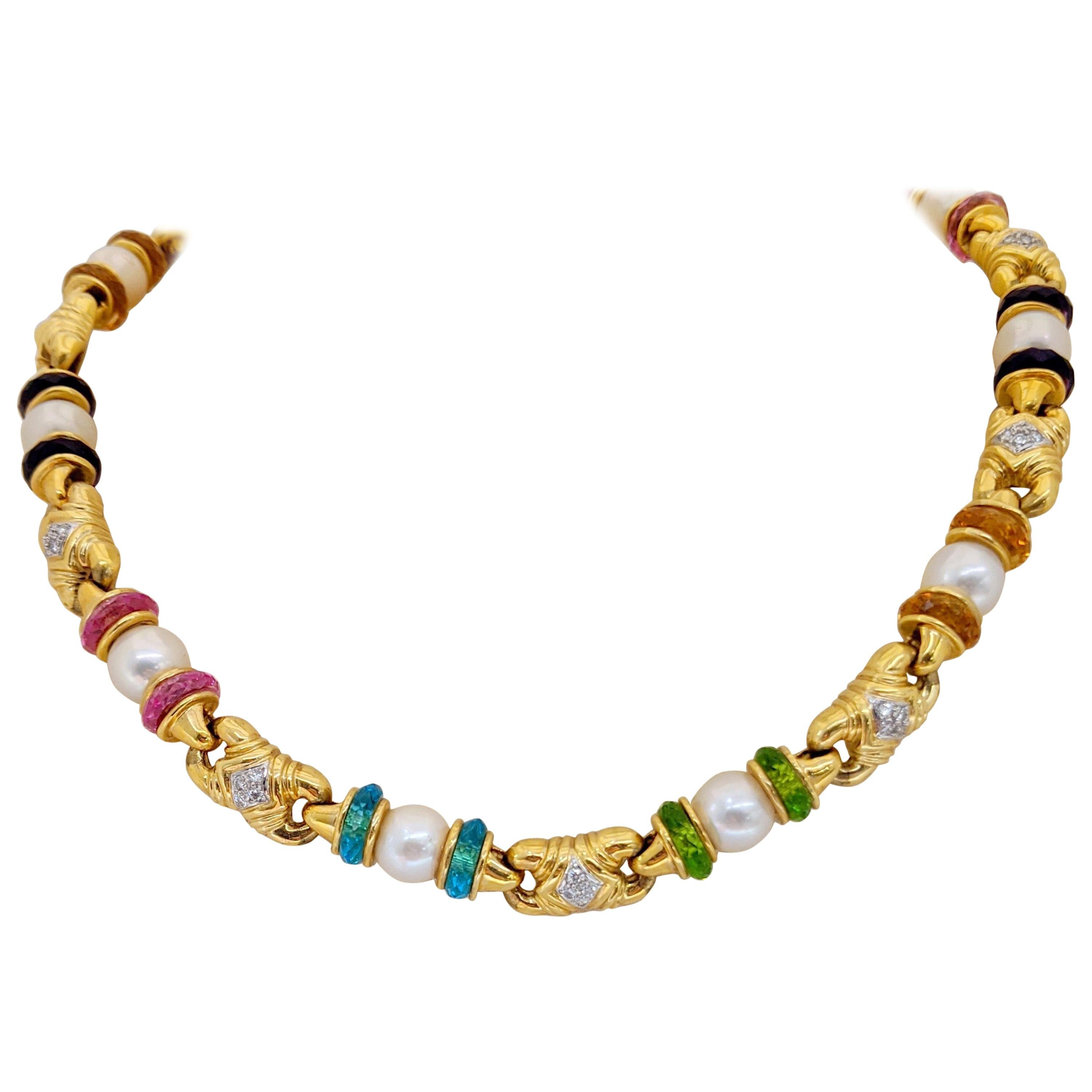 18 Karat Yellow Gold Necklace with Semi Precious Rondelles and Cultured Pearls