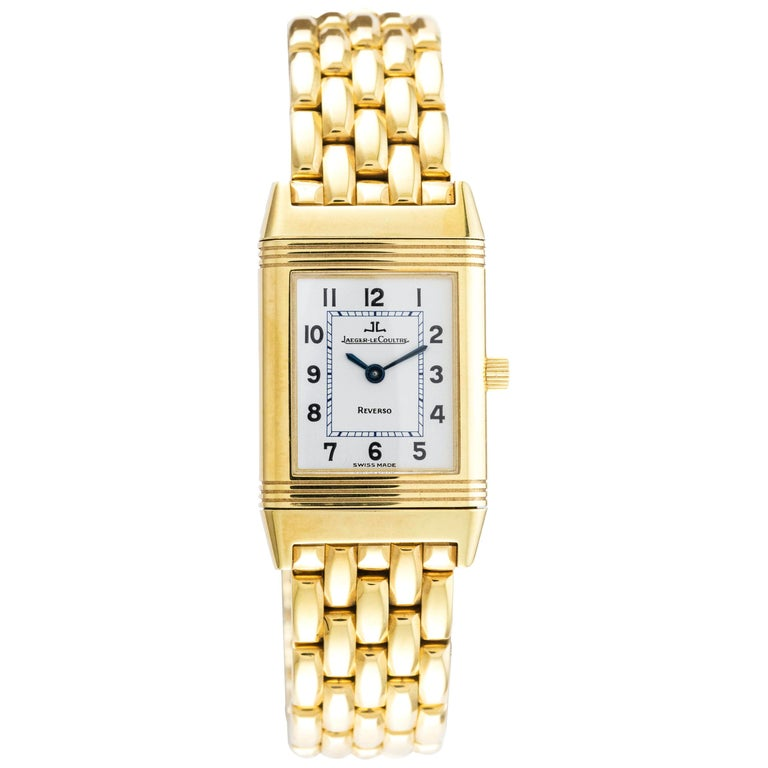 18 Karat Yellow Gold New Old Stock Jaeger-LeCoultre Reverso Lady Watch For Sale