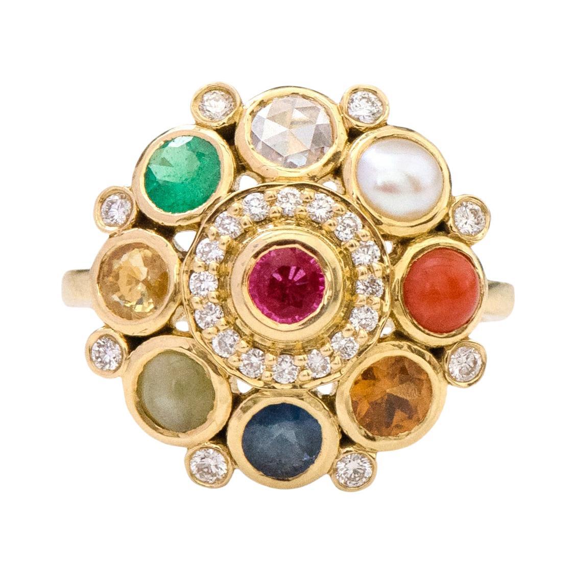 "18 Karat Yellow Gold Nine Precious Gems ""Navratan"" Statement Ring"