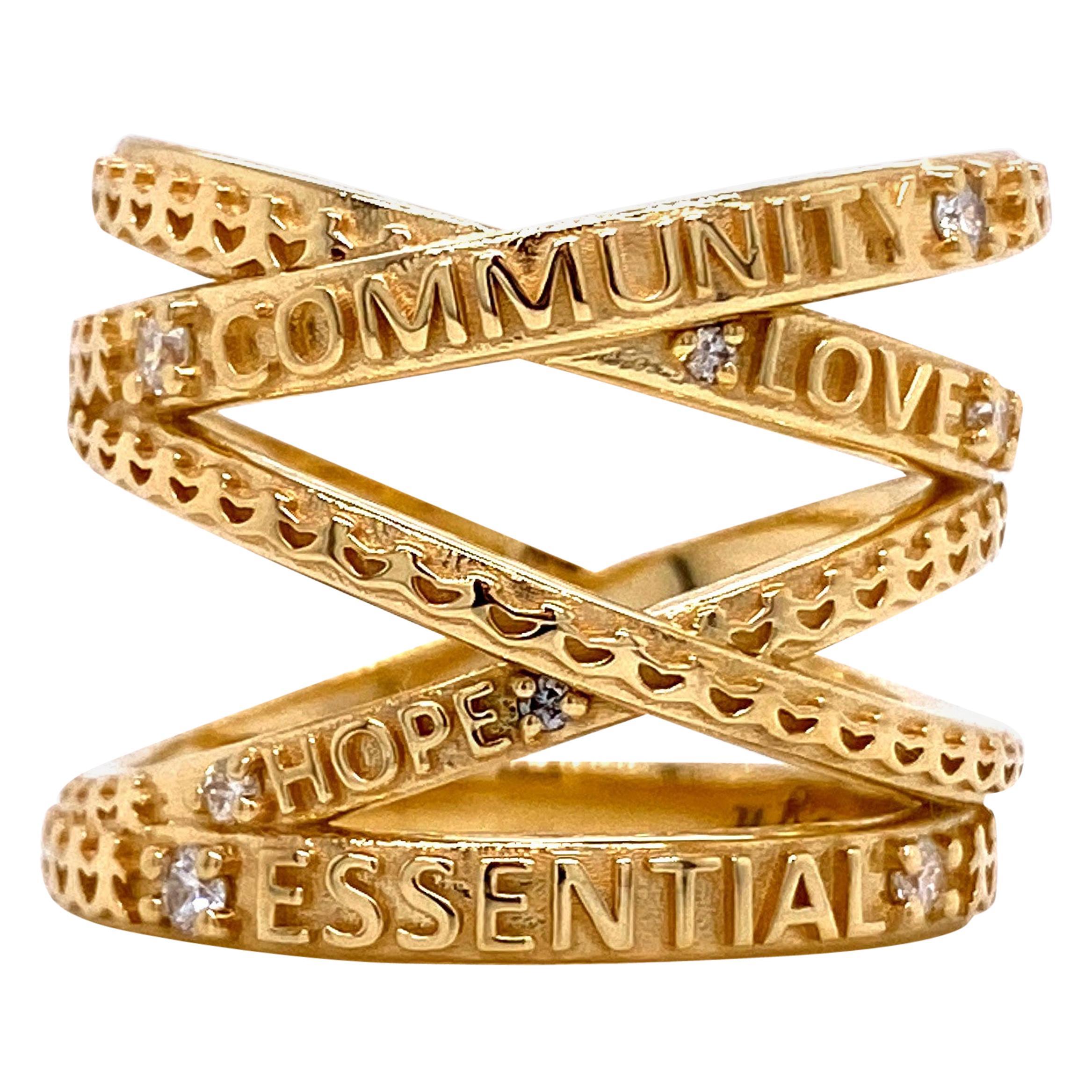 "18 Karat Yellow Gold ""Not Non-Essential"" Wrap Ring with White Diamonds"