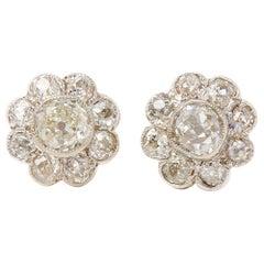 18 Karat Yellow Gold Old Cut Diamond Cluster Earrings