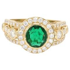18 Karat Yellow Gold Old Mined Sandwana 1.27 Carat Emerald Halo Diamond Ring