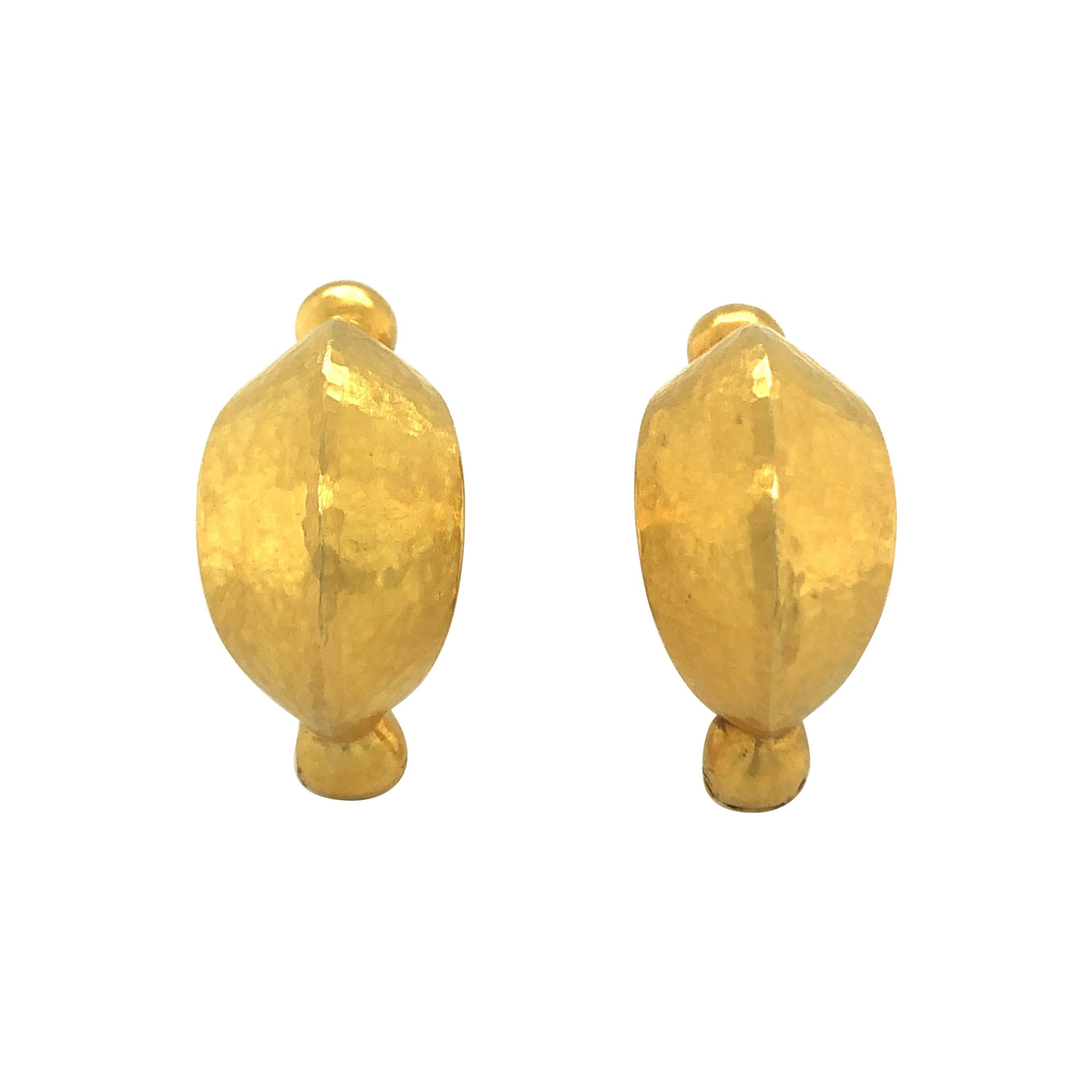 18 Karat Yellow Gold Neolithic Hoop Earrings by Lalaounis