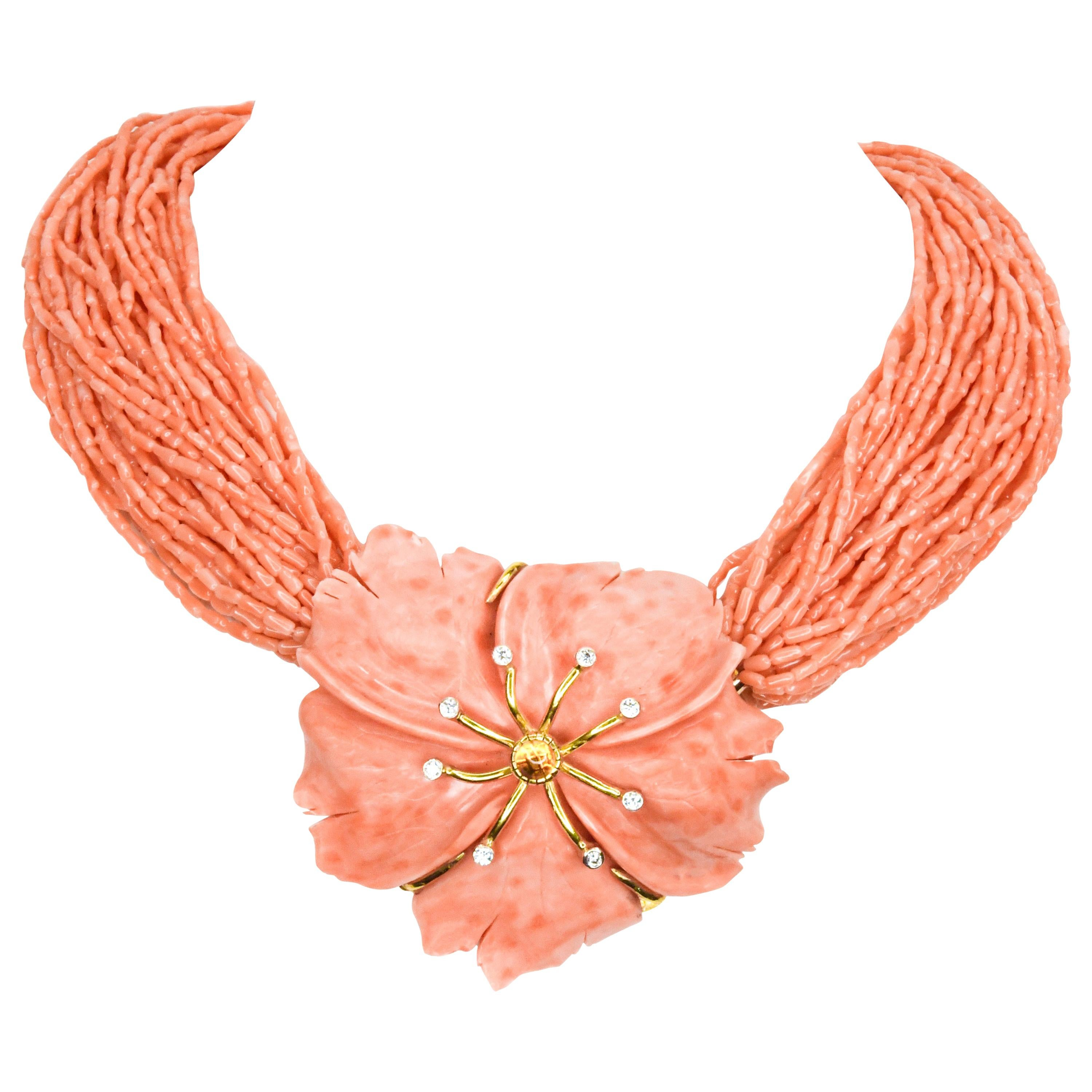 18 Karat Yellow Gold One of a Kind Coral and Diamond Flower MultiStrand Necklace