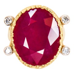 18 Karat Yellow Gold One of a Kind Ruby and Diamond Ring