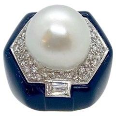18 Karat Yellow Gold, Onyx, .45 Carat Diamond and South Sea Pearl Cocktail Ring