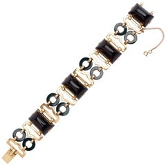 18 Karat Yellow Gold Onyx and Bloodstone Bracelet
