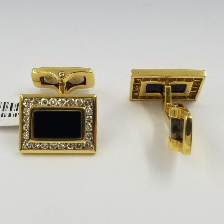 Men's 18 Karat Yellow Gold, Onyx, and Diamond Cufflinks
