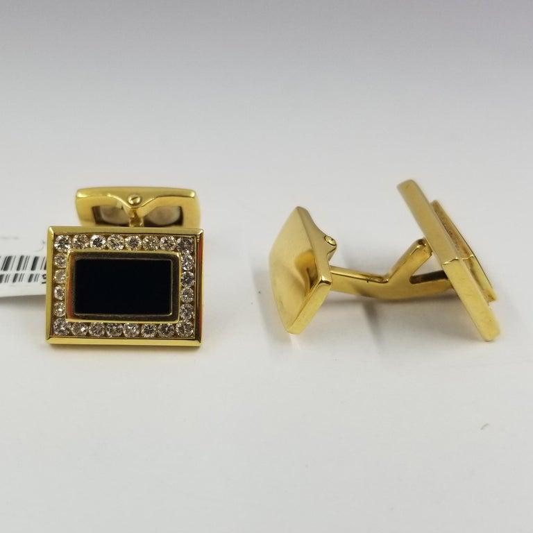 18 Karat Yellow Gold, Onyx, and Diamond Cufflinks 1