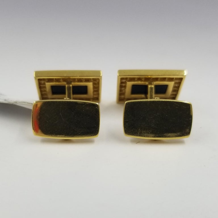 18 Karat Yellow Gold, Onyx, and Diamond Cufflinks 2