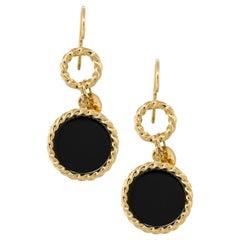 18 Karat Yellow Gold Onyx Disc Drop Earrings