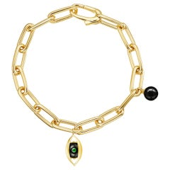 18 Karat Yellow Gold, Onyx, Emerald, Diamond-The EYE Chain Bracelet
