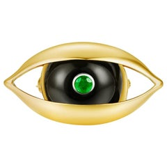 18 Karat Yellow Gold, Onyx, Emerald, Diamond-The EYE Unisex Brooch