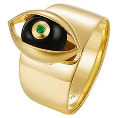 18 Karat Yellow Gold, Onyx, Emerald, White Diamond-The EYE Ring