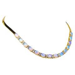 18 Karat Yellow Gold Opal and Diamond Necklace