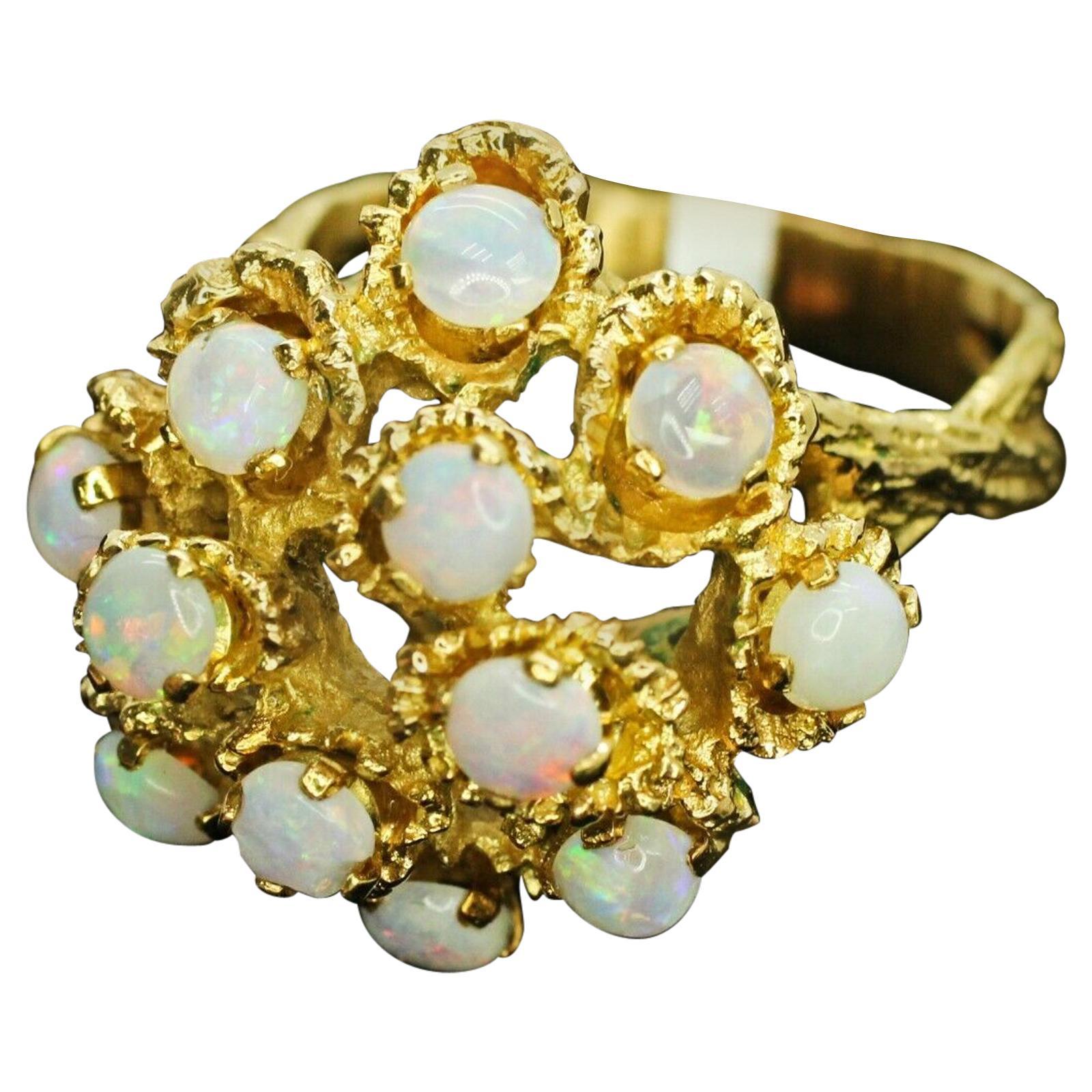 18 Karat Yellow Gold Opal Cluster Ring