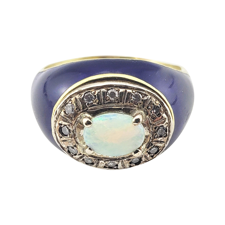 18 Karat Yellow Gold Opal Diamond and Blue Enamel Ring