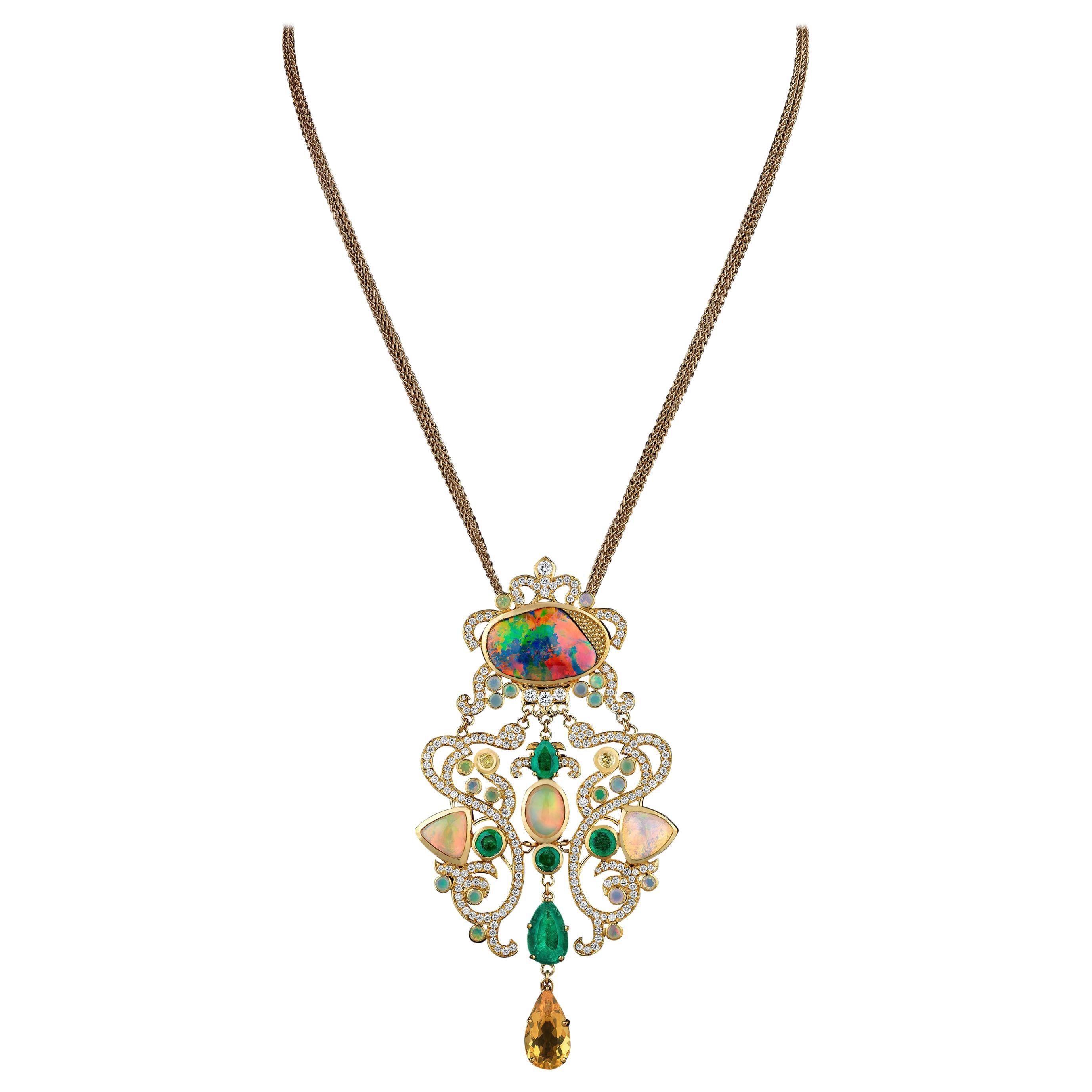 18 Karat Yellow Gold Opals Emeralds Diamonds Pendant Necklace Colorful Classic