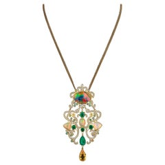 18 Karat Yellow Gold Opals Emeralds Diamonds Pendant Necklace Colorful Classic