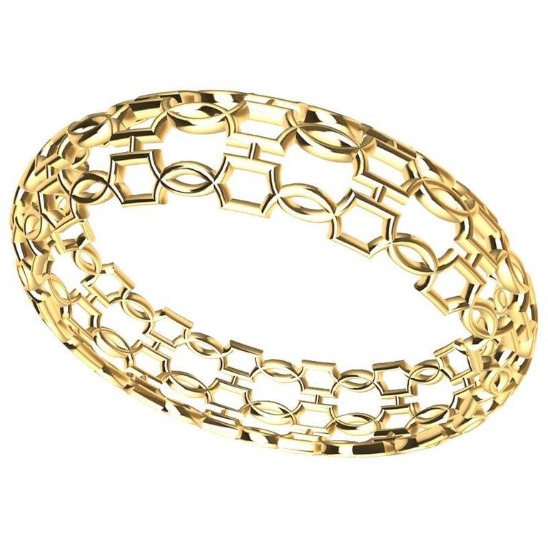 18 Karat Yellow Gold Open Circles Bangle For Sale